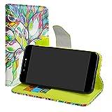 LiuShan Archos Core 50 Hülle, Brieftasche Handyhülle Schutzhülle PU Leder mit Kartenfächer und Standfunktion für Archos Core 50 Smartphone (mit 4in1 Geschenk verpackt),Love Tree