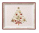 Villeroy & Boch Winter Bakery Delight Kleine rechteckige Servierplatte für Gebäck, Premium Porzellan, Weiß/Rot/Beige