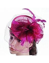 d5caeed6b5b74 Eeayyygch Sombrero - señoras Tiara de otoño e Invierno Boda Europea Lino Sombrero  Sombrero de Novia británica…