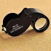 KKmoon 40X 25mm Lupa Plegable con Luz de LED. De Tamaño Pequeño. Ideal para Joyero/ Relojero / Conocedor de Monedas y Sellos. (Negro)
