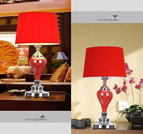 Lampada da tavolo-- lampade decorative moderna lampada da comodino di studio sala europeo della moda e minimalista camera da letto di ceramica vivente ( colore : Rosso