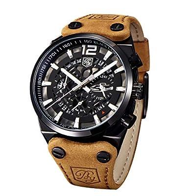 Benyar - Reloj de Pulsera para Hombre, con cronógrafo Militar y Esqueleto de Cuarzo, para Hombre, Esfera Grande, Reloj de Pulsera para Hombre