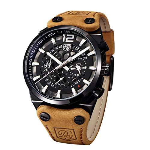 Benyar orologi sportivi uomo scheletro militare cronografo uomo outdoor quadrante grande esercito maschio orologio da polso cinturino marrone orologio