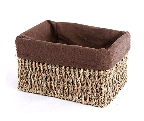 Wicker Storage Basket Woven Aufbewahrungsbox mit Tuch Futter (Große Wicker Storage Körbe)