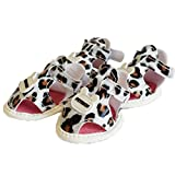 Pet Schuhe Rosennie 2018 New Dog Summer Shoes Breathable Puppy Shoes Dog Sandals Crown Leopard atmungsaktiv Haustier Sandalen PU Gedruckt Anti-Rutsch Sandalen Hund Schuhe zum Frühling und Sommer Hunde Produkte 4 Set Dogs Anti Skid Breathable Soft Summer Cute PU Leather Paw Protectors Shoes Five-Sizes (4, Braun)
