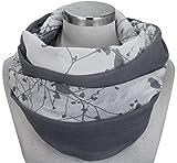 PiriModa XXL Neue Kollektion Damen Schal leichter Schlauchschal Viele Farben (M1 Dunkelgrau/Weiss)