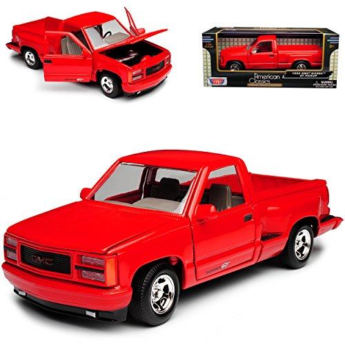 GMC Sierra Baugleich Chevrolet Silverado GMT400 4. Generation Pick-Up Rot 1988-1998 1/24 Motormax Modell Auto (Gmc Spielzeug Auto)