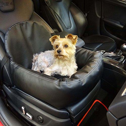 Hossi's Wholesale Knuffliger Leder-Look Autositz für Hund, Katze oder Haustier inklusiv Gurt und Sitzbefestigung