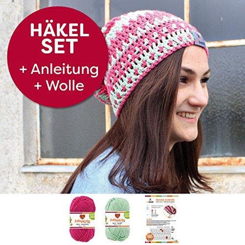 myboshi Mützen Häkelset Beanie aus leichter Wolle (85% Baumwolle 15% Kapok) Anleitung + Häkelgarn + Label Farben (Minze, Magenta ohne Häkelnadel)
