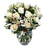 Clare Florist White Rosmeria Gorgeous Roses and Alstroemeria