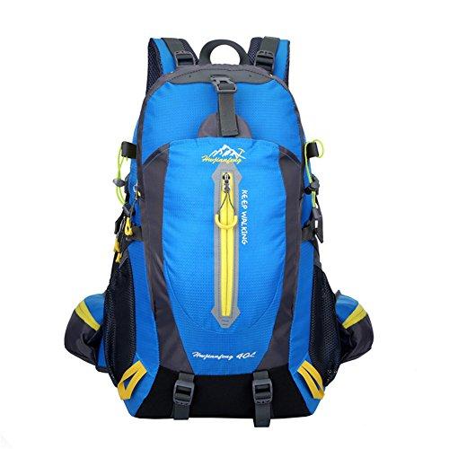 40L Wanderrucksack Trekkingrucksack, Herren Wasserdichter Rucksack Reiserucksack für Outdoor Camping mit Regenabdeckung von BLF Blau