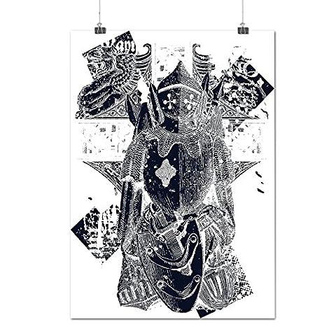 Chevalier Brillant Armure Matte/Glacé Affiche A4 (30cm x 21cm) | Wellcoda