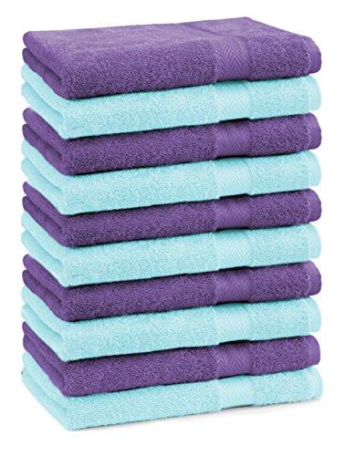 BETZ lot de 10 serviettes débarbouillettes taille 30x30 cm 100% coton Premium couleur turquoise et violet