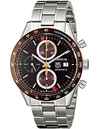 TAG Heuer Carrera - Reloj (Reloj de pulsera, Masculino, Acero inoxidable, Burdeos