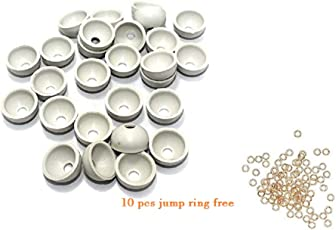 Cb Collections Silk Thread Jewellery Making Plastic Jhumka Base Small Size - Pack Of 100 Pcs(White)