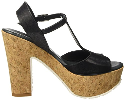 SHOOT Shoes Sh-160170vv Damen Sommer High Heels Plateau Sandale, Sandales Plateau Femme Noir - Noir