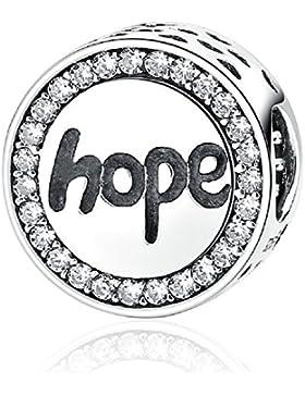 Kreis rund mit Zirkonia 925Sterling Silber Charms Perlen klar Buchstabe Hope passend für europäische Armband...