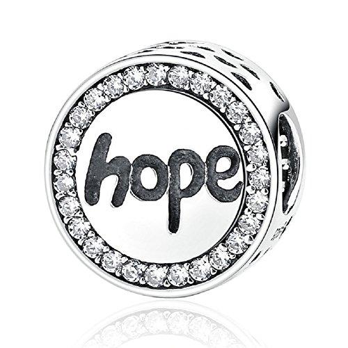 Kreis rund mit Zirkonia 925Sterling Silber Charms Perlen klar Buchstabe Hope passend für europäische Armband Schmuck Weihnachten Geschenke (Sterling Buchstaben Perlen)