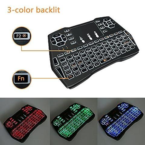 2017Backli Mini Handheld clavier sans fil avec Touchpad Mouse pour Windows, iOS, Windows 98/2000, XP, Vista, Win7, Win8, Mac OS, Linux, Android, avec 3-color lumières et avec batterie au lithium, With 3-color