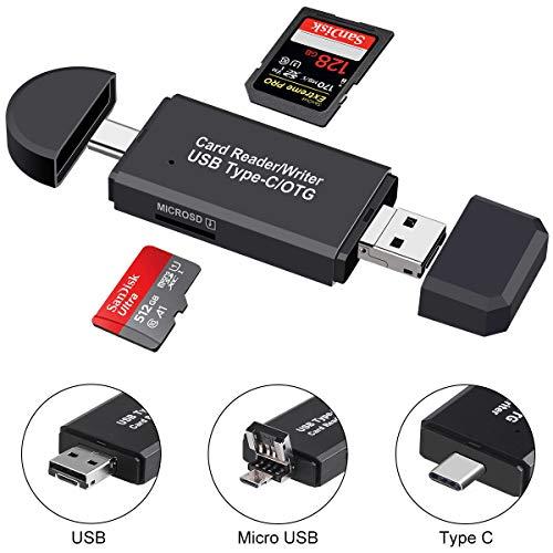 SD-Kartenleser, Micro SD / TF-Compact-Flash-Kartenleser mit 3-in-1-USB-Typ-C / Micro-USB-Steckeradapter und tragbarer OTG-Speicherkartenleser für & PC & Laptop & Smartphones & Tablets