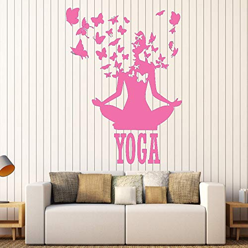guijiumai Lotus Meditation Buddismo Adesivi murali in Vinile Decor Yoga Center Pose Sticker Rimovibile Design Impermeabile Adesivo S 5 73X90cm