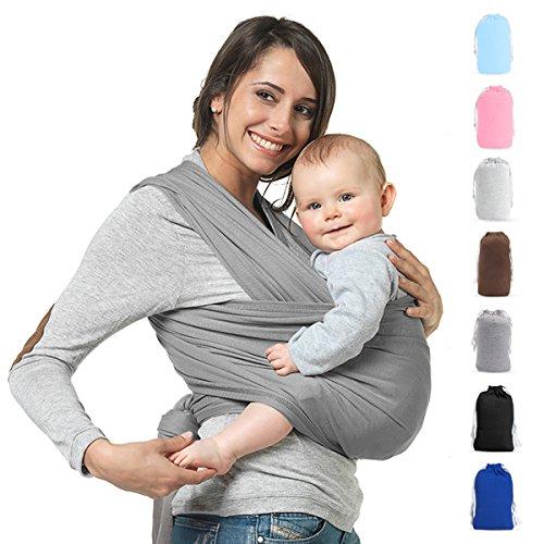 Babytragetuch Neugeborene Elastisches Tragetuch Baby Ring Sling Baby Wrap Sling für Neugeborene und Kleinkinder 100% Baumwolle Ohne Künstliches Elastan Von Future Founder (Grau)