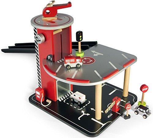 Leomark Garage avec ascenseur et voitures Circuit en bois Garage en bois Parking À Voitures Avec Étage Et Ascenseur Véhicule Miniature Métal Modèle À L'échelle Véhicule sans piles auto