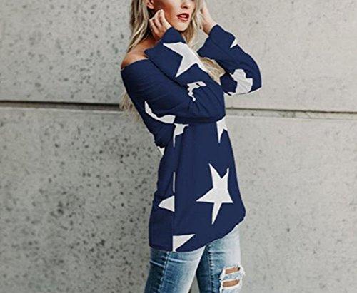 Tops Donna Eleganti Bianco Senza Spalline Maglietta Stampati Stella Obliquo Spalla Camicia Blusa Manica Lunga Taglie Forti Sciolto T-Shirt Primavera Autunno Pullover Ragazze Casual Partito Blu
