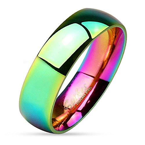 Bungsa 54 (17.2) Regenbogen Ring Edelstahl klassisch bunt für Damen & Herren 49-67 (Fingerring Partnerringe Verlobungsringe Trauringe Damenring Chirurgenstahl Frauen Männer)