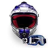 """Armor · AKC-49 Set """"Blue"""" (blue) · Casco Moto-Cross · Racing motocicleta Enduro Quad NINOS..."""
