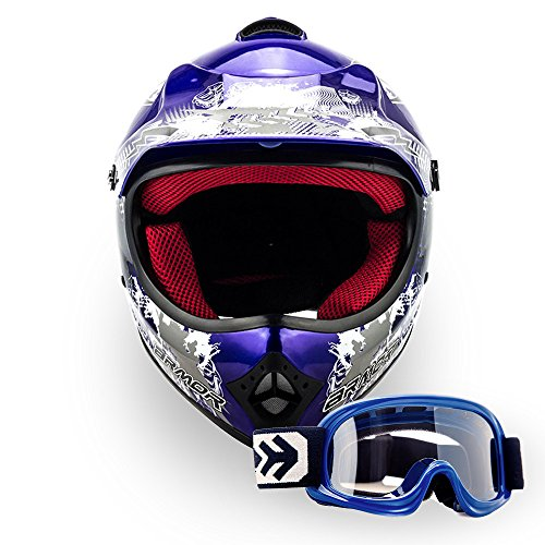 ARROW HELMETS AKC-49 SET - BRILLE + CROSSHELM - Moto-Cross-Helm Cross-Helm Kinder-Cross-Helm Helmet Sport Junior Kids Quad Pocket-Bike Enduro MX Motorrad-Helm Cross-Bike Kinder-Helm MTB , DOT zertifiziert, inkl. Stofftragetasche, BLAU (M (55-56cm))