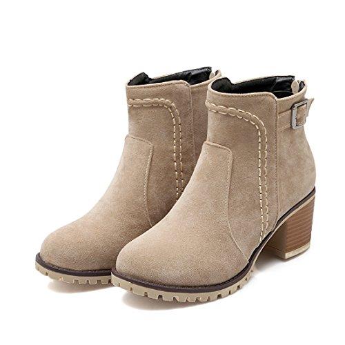 avec de Femmes Bottines Chaussures UH Bout Cheville Talons CM 6 Rond avec de Bloc Chaud Lacets Beige Fourrure wxFXqnx5E