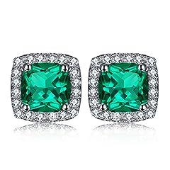 Idea Regalo - JewelryPalace Cuscino 2.08ct Nano Russo Verde Smeraldo Artificiale Halo Orecchini a Perno Argento Sterling 925