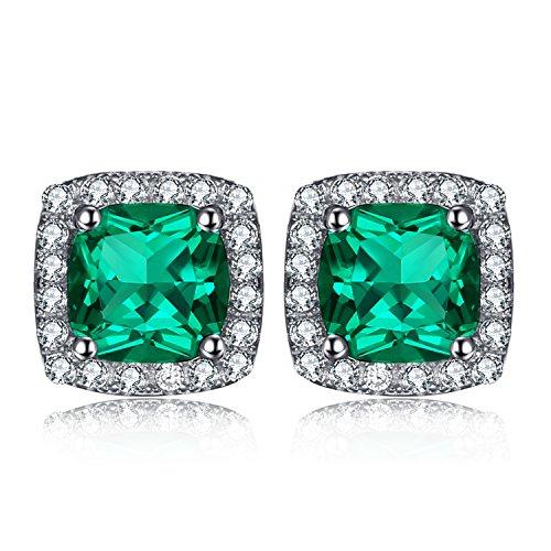 JewelryPalace Cuscino 2.08ct Nano Russo Verde Smeraldo Artificiale Halo Orecchini a Perno Argento Sterling 925