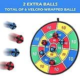 BETTERLINE Stoff und Klett Dartscheibe Spiel mit 6 Klettbällen   Groß 37 cm Durchmesser   Sicher für Kinder