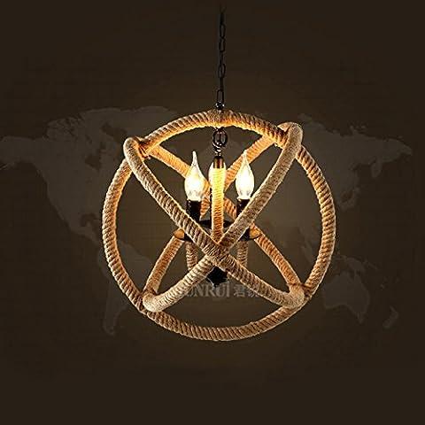 Ropa de lámpara de cuerda retro araña café restaurante bar tienda circular lámpara