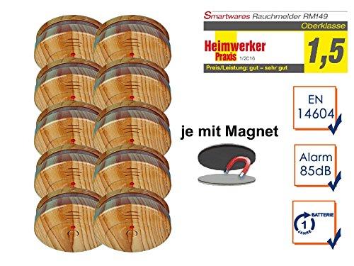 Smartwares 10er SET Rauchmelder in hochwertiger Holzoptik mit EASY Magnetbefestigung