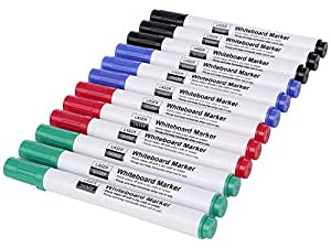 Laser Sharp White Board Marker Pens Pack of 12 - Erasable Non-Toxic White Board Marker Pens for kids students schools colleges offices -3 Each of Black Blue Red Green Whiteboard Marker Pens