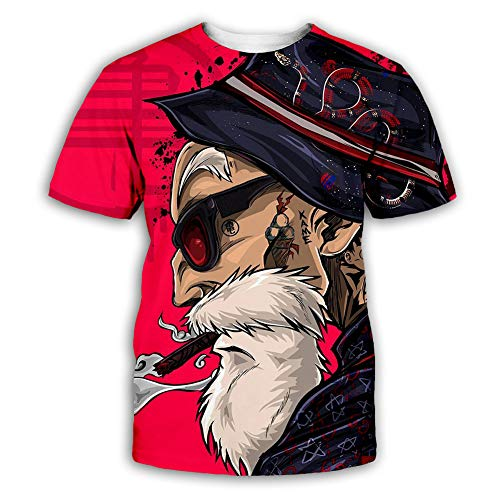 Herren Hemd Cartoon Anime 3D Digital Druck Sommer T-Shirt Dragon Ball Z Goku Cosplay Kurzarm Shirt Red-XXL (Dragon Z Fitness Shirts Von Ball)