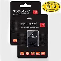 TOP-MAX 2 Pack EN-EL14 EN-EL14a Li-ion Battery for Nikon D3300 D3400 D5300 D5500 D5600 D3200 D5200 D5100 D3100 D3S Df Nikon Coolpix P7000 P7100 P7700 P7800,Nikon Battery Grip BG-2G