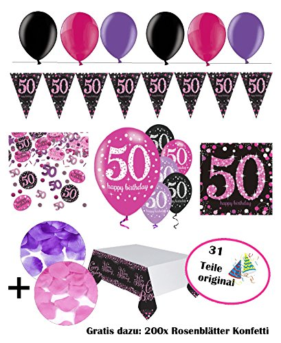 Fixed celebrate decorative figure for 50 birthday, complete birthday decoration 50 years, 31 pieces pink purple black with party balloons Happy Birthday set, 50