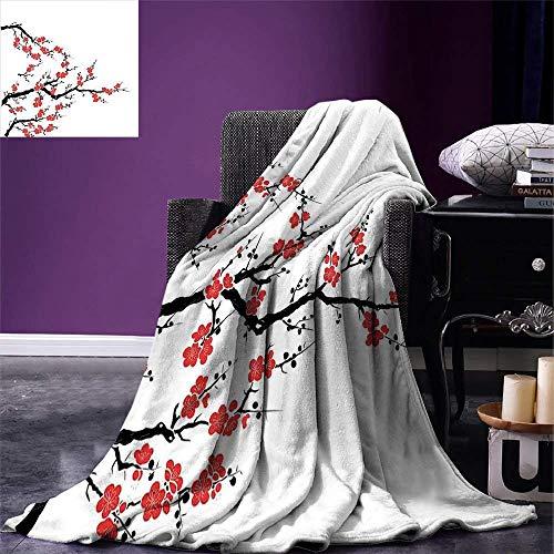 Dinddoo Japanischer Wurf vereinfachender Kirschblüten-Baum asiatisches botanisches thematisches Muster frische organische Linien Kunst warme Mikrofaser-Decke-125cm * 200cm