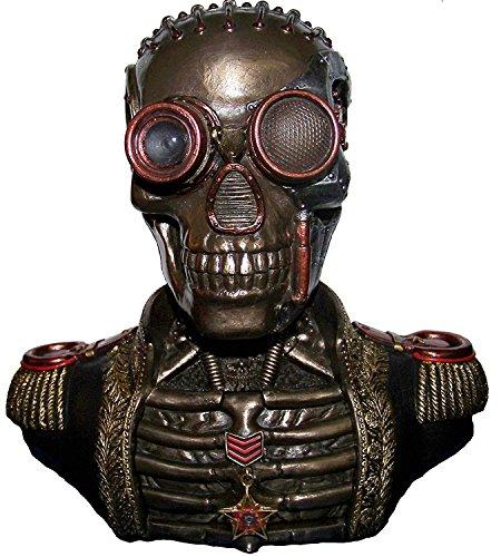 Estatua de hombre con cerebro mecánico