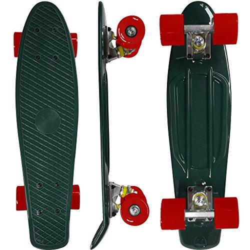 South Coast Skates - Skateboard completo retrò Cruiser, tavola in stile anni '70, ampia gamma di colori, Dark Green - Red - Aluminium