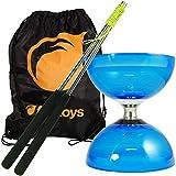 Un Diabolo 'Cyclone Quartz 2' (Bleu) à 3 Roulements de Juggle Dream, Une Paire de Baguettes de Contrôle Métalliques & Un Sac de Transport Firetoys