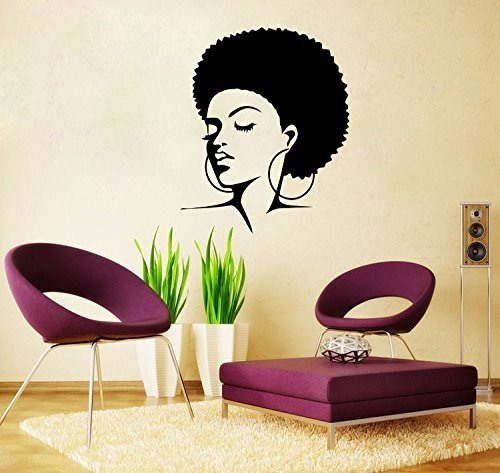 Wall Decal Vinyl Sticker African Woman Style Natural Hair Soul Jazz Girl V159 by CreativeWallDecals (Womens Girls Natural)