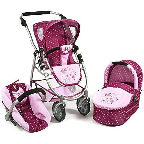 Bayer Chic 200063729Carrito para muñecas, 3en 1,Color Morado, lila/rosa