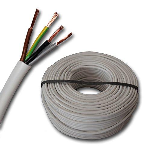 Kunststoff Schlauchleitung rund LED Kabel Leitung Gerätekabel H03VV-F 4x0,75 mm² (mm2) 4G0,75 - Farbe: weiß 10m/15m/20m/25m/30m/35m/40m/45m/50m/55m/60m usw. bis 250 m in 5 Meter Schritten 0.75