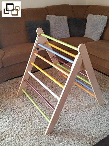hochwertiges farbiges Kletterdreieck nach Art Pikler incl. Kindersicherung, Dreiecksständer klappbares Sprossendreieck Spielzeug, fertig zusammengebaut