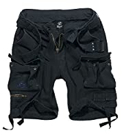 BRANDIT DELUXE CARGO SHORTS VINTAGE MENS ARMY STYLE WITH REMOVABLE BELT Black M